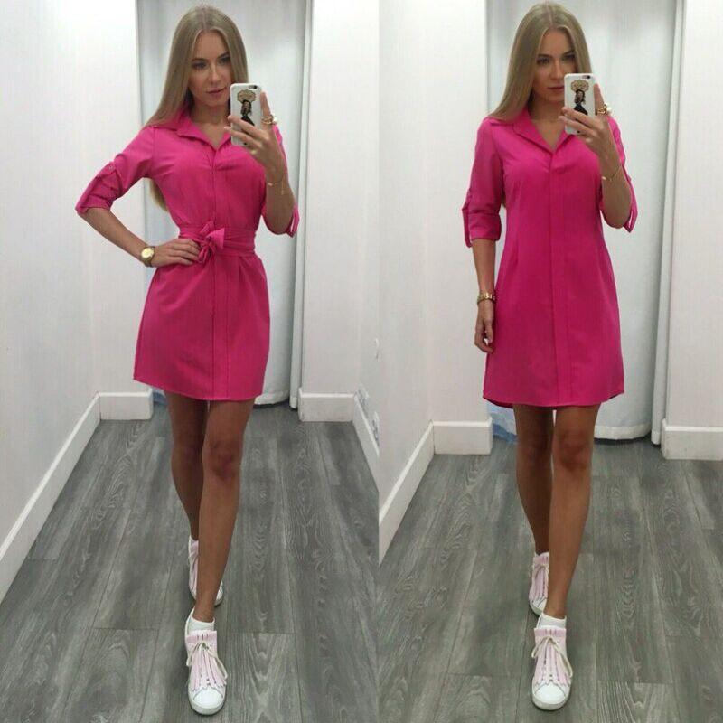 Ermonn 2017 mujeres del verano dress moda casual sólido recto medio ucrania part