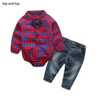 2016 Fashion Baby Boy Clothes Sets Gentleman Rompers Pants Suit Long Sleeve Kids Boy Clothing Set