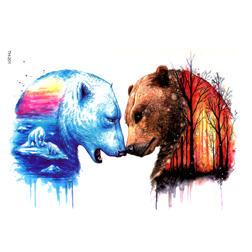 US $3 03 24% OFF|Polar bear and bear in the forest Waterproof Temporary  Tattoo sticker The Flash Tatoos Temporales For Women Henna Tattoo Sleeve-in