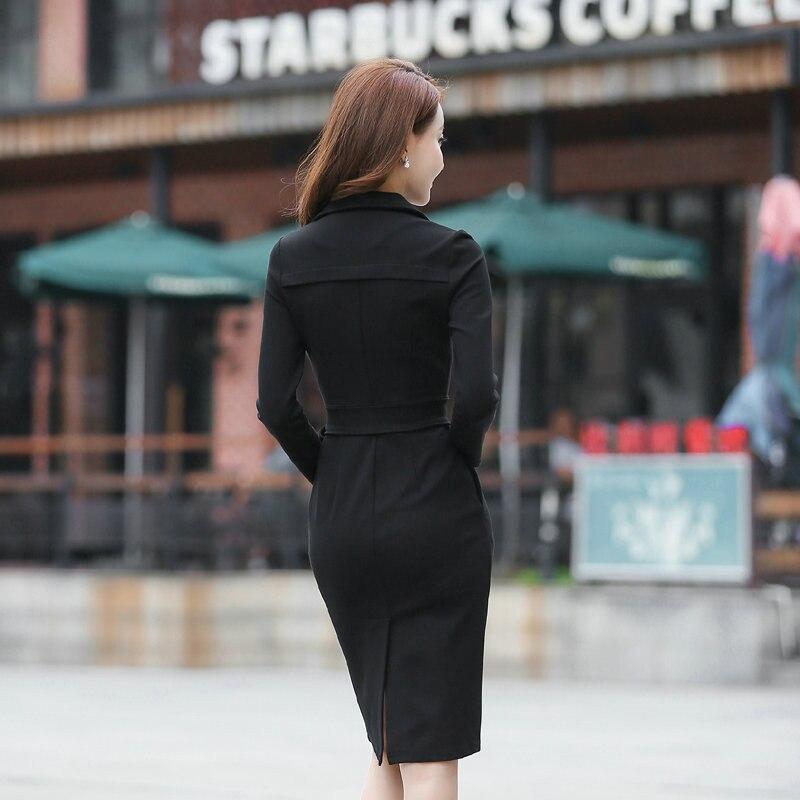 Femmes Travail Split Printemps Façonné H215 Noir Bureau Élégant Gaine Ol Robe De D'affaires Casual Col Moulante Robes À Tunique Solide xing Se Automne EEPzqwS