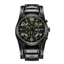 Parnis Pilot V Serier Luminous Mens Leather Watchband Military Sport Chronograph Quartz Watch Wristwatch With Static Second Hand