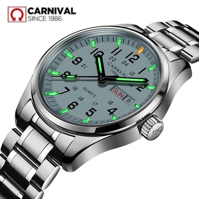 Carnival Tritium Light men Watch Quartz Double calendar Date Tritium Luminous Waterproof 200M Military diving Watches