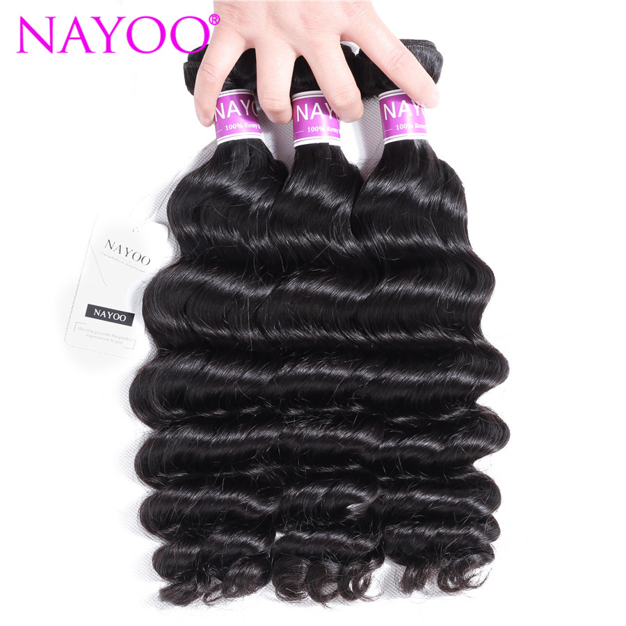 NAYOO 3 Bundles Malaysia Loose Deep Double Weft 100% Human Hair Weave Natural Color 8-26 Inch Remy Hair Extension