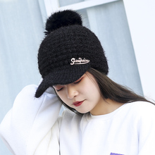 1pc Women Winter Chunky Knitted Flat Caps With Pompom Fur Warm Wool Hats Skullies Beanies For Female Ladies Black White Red Pink