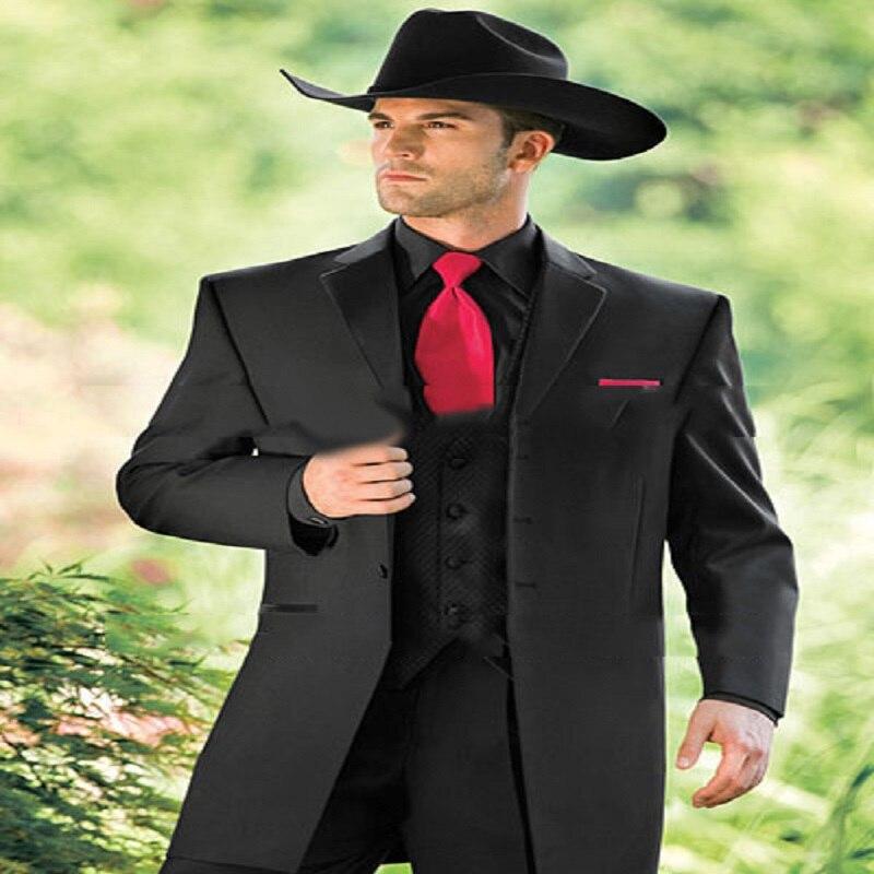 Moda Por Encargo Western Cowboy Slim Fit Negro Novio Esmoquin Traje de Boda Para Los Hombres