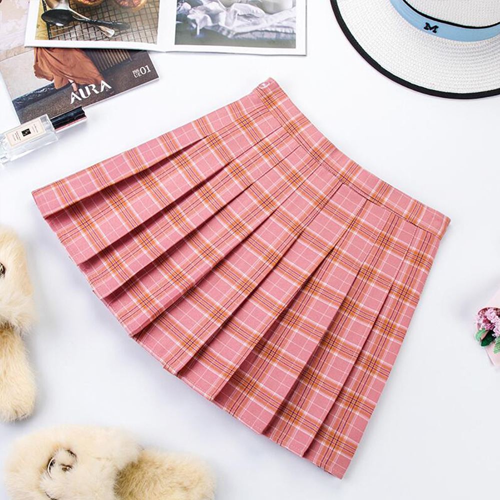 Plus Size Harajuku Short Skirt New Korean Plaid Skirt Women Zipper High Waist School Girl Pleated Plaid Skirt Sexy Mini Skirt 16