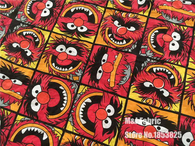 50165cm Sesame Street Elmo Elasticity Knitted Cotton Fabric For