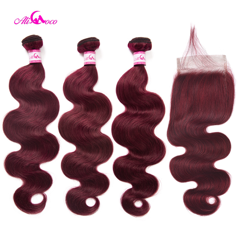 Ali Coco Brazilian Body Wave Burgundy Hair Bundles #99 Bold Red With Closure Human Hair Bundle Deals Remy Hair Extensions