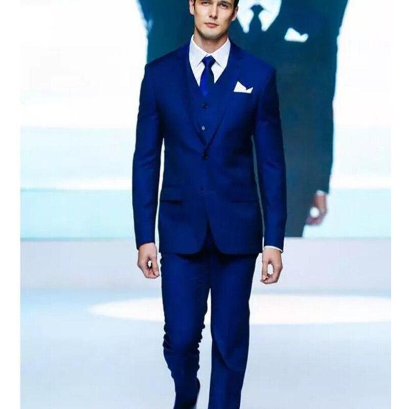 Vente chaude new royal bleu deux boutons marié hommes costume robe écart revers formelle de mariage robe de la meilleur homme costumes (manteau + pantalon + Gilet)