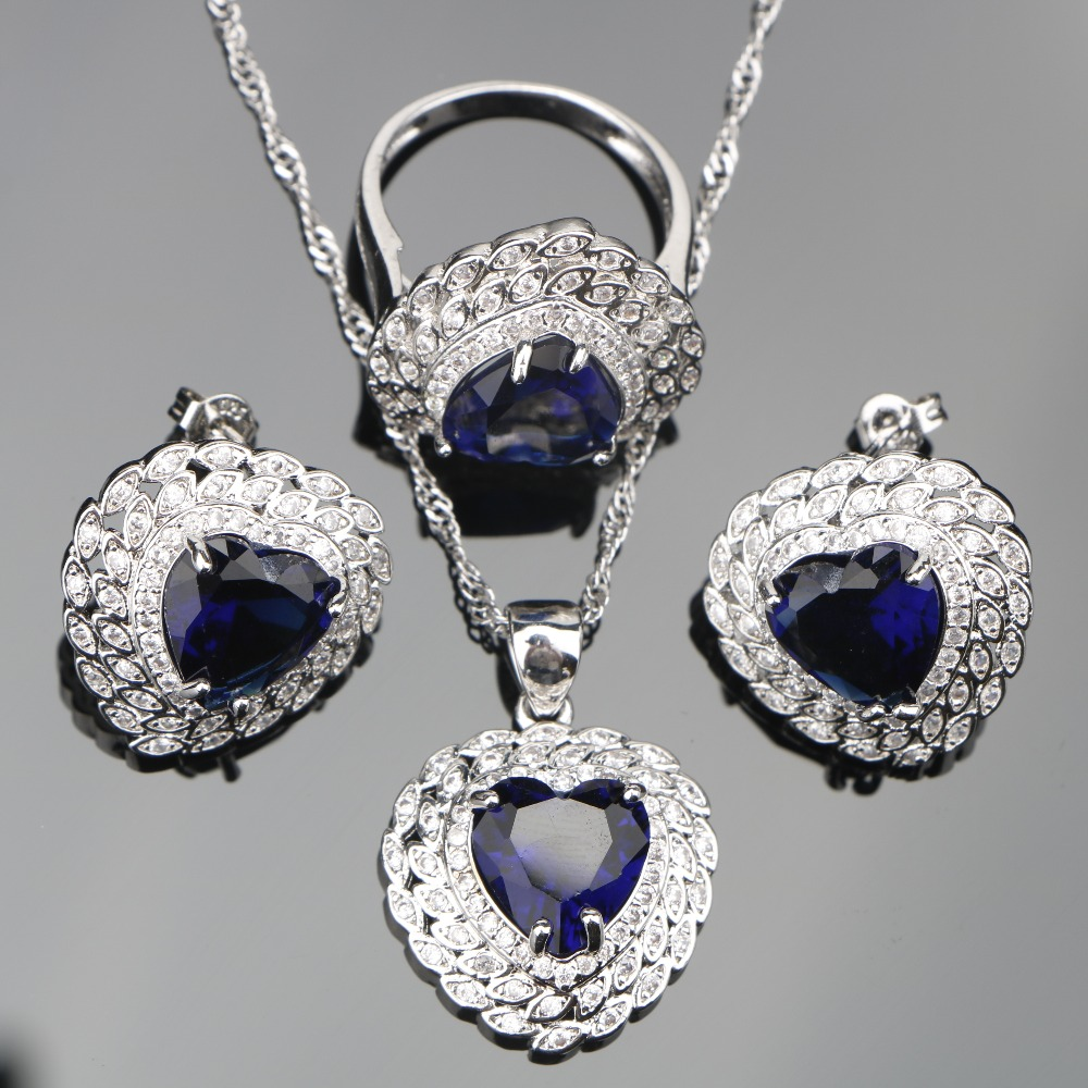 Blue Zircon Bridal Silver 925 Jewelry Sets Women Decorating Earrings With Stone Set of Pendant Necklace Rings Jewelery Gift Box