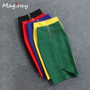 Magiray High Waist Elastic Pencil Skirt Female Bodycon Skirts Womens Summer 2020 Knee Length Back Split Ladies Office Saia C571