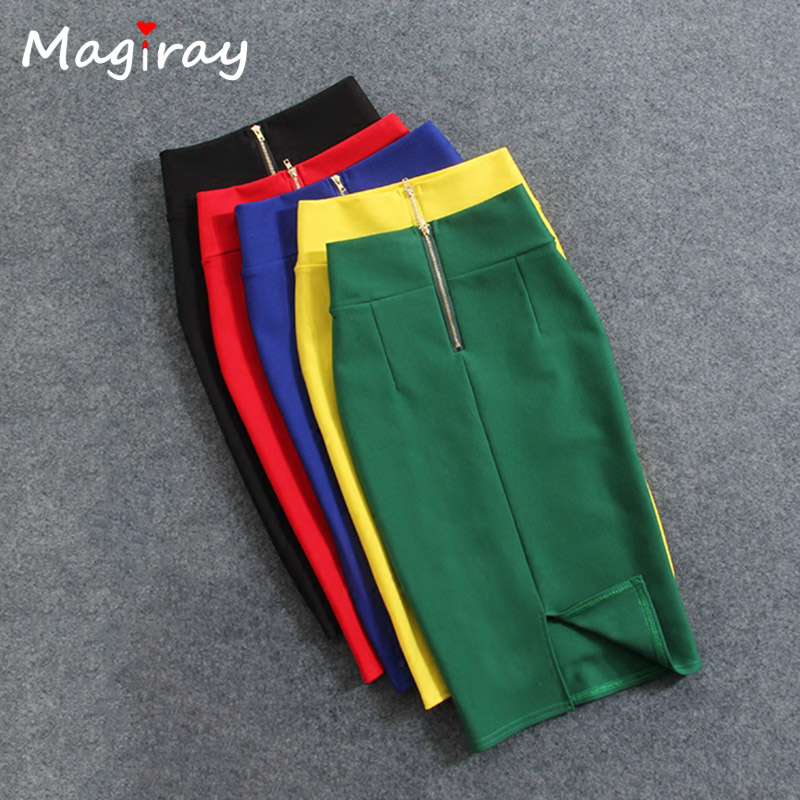 Magiray High Waist Elastic Pencil Skirt Female Bodycon Skirts Womens Summer 2019 Knee Length Back Split