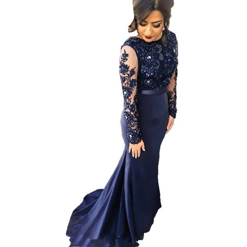 Navy Blue High Neck Lace Mermaid Party Gowns 2018 Long Sleeves Appliqued  Party Gowns Evening Dresses Long Prom Dreses