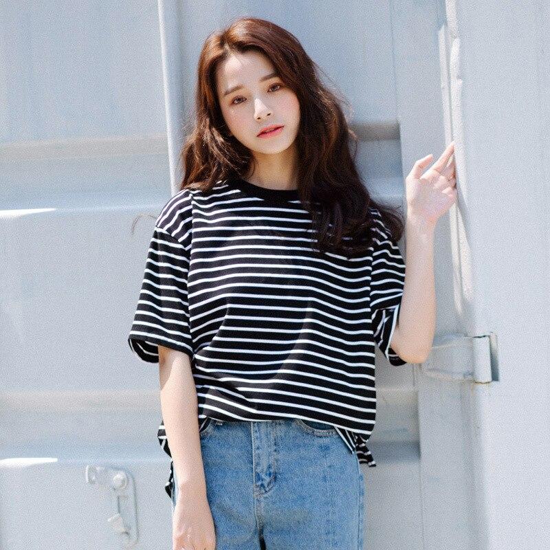 Women's Striped T-shirts 80S 90S Casual Tops Clothes Classic Vintage Stripe Women Cotton Short Sleeve T-shirt