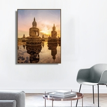 Laeacco Canvas Calligraphy Painting Outside Sunshine Wall Artwork Buddha Statue Posters and Prints Home Living Room Decoration