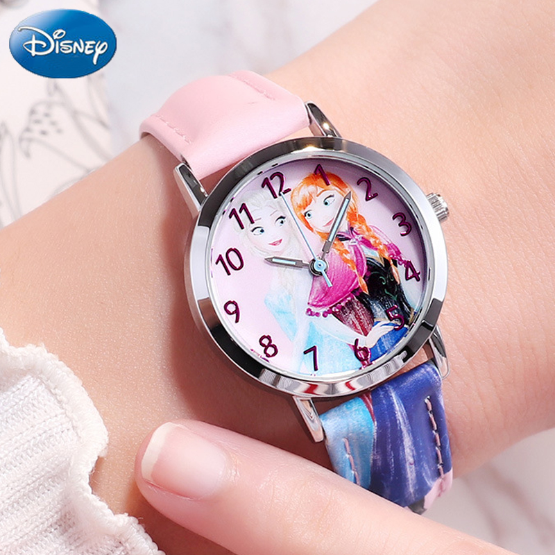 Watches Initiative Disney Childrens Watch Frozen Fashion Classic Simple Kids Watch Luxury Brand Quartz Casual Leather Watch For Kids Children