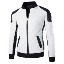 2017 neue Marke Dünnen Männer Bomber Jacken Casual Fashion Plaid PU Lederjacke Männer Jaqueta de couro Schwarz Weiß Plus Größe 5XL 6XL