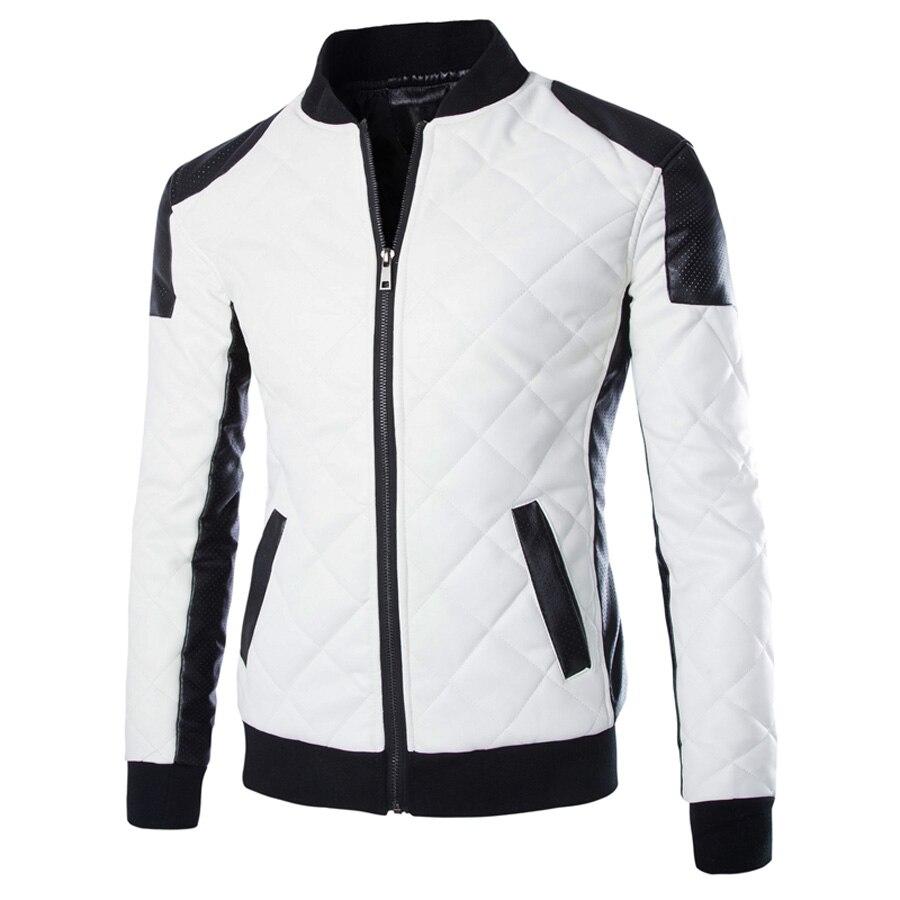 2017 New Brand Slim Men <font><b>Bomber</b></font> Jackets Casual Fashion Plaid PU Leather Jacket Men Jaqueta de couro <font><b>Black</b></font> White Plus Size 5XL 6XL