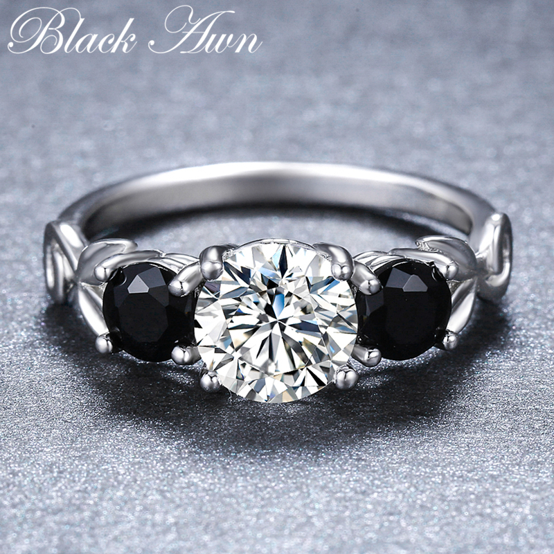 [BLACK AWN] Round Real 925 Sterling Silver Ring Black Spinel Finger Elegant Rings For Women G090