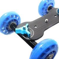 Nueva Mesa Dolly Mini Skater Coches Resbalador de la Pista Caliente Mudo Estupendo para la Videocámara DSLR Cámara (azul y Negro)