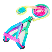 Rainbow Dog Harness And Leash Outfit Colorful Nylon Woven Small Pet Traction Rope Puppy Hand Strap Vest Collar Leads