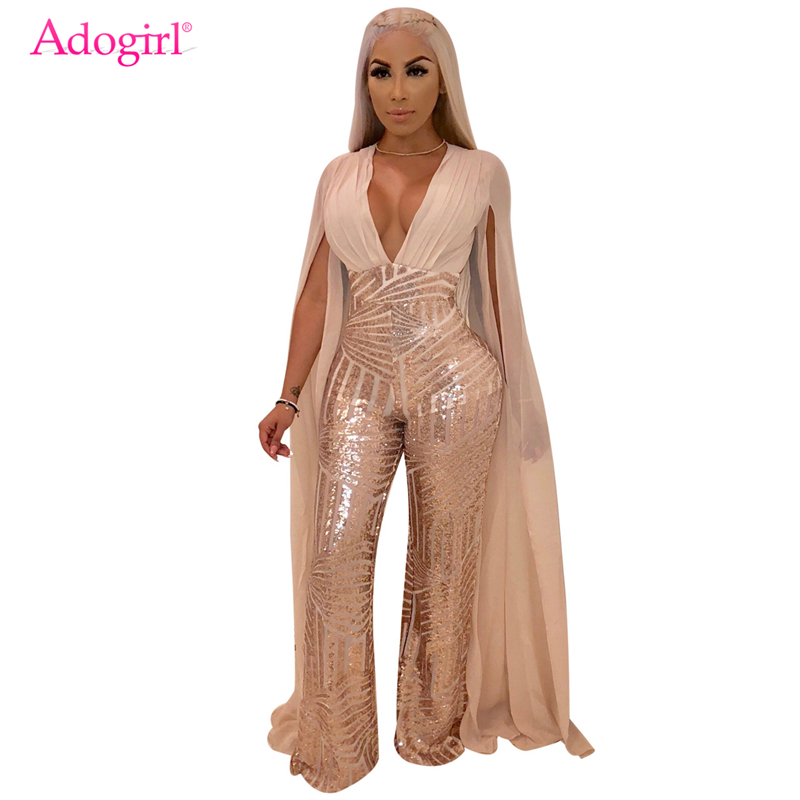 Adogirl Cape Split Extra Long Sleeve Sequins   Jumpsuit   Elegant Sexy Deep V Neck Slim Romper Women Night Club Party Outfit Overall