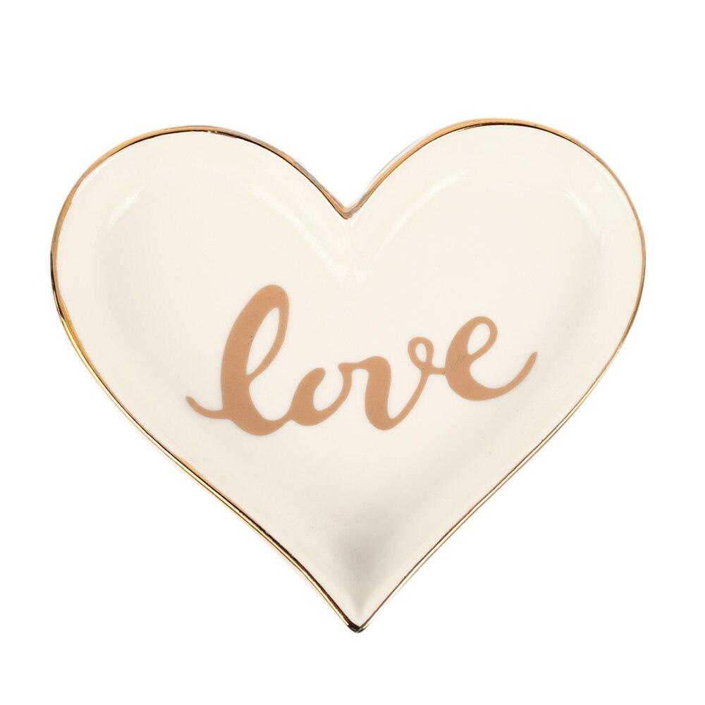 Керамическая в форме сердца лоток творческие держатели для тарелок на День Святого Валентина подарок свадебный домашний декор Ювелирная тарелка десерт - Цвет: white love