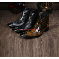 Botas Hombre Genuine Leather Mens Dress Boots Studded Military Boots Iron Toe Motorcycle Bottes Mens Waterproof
