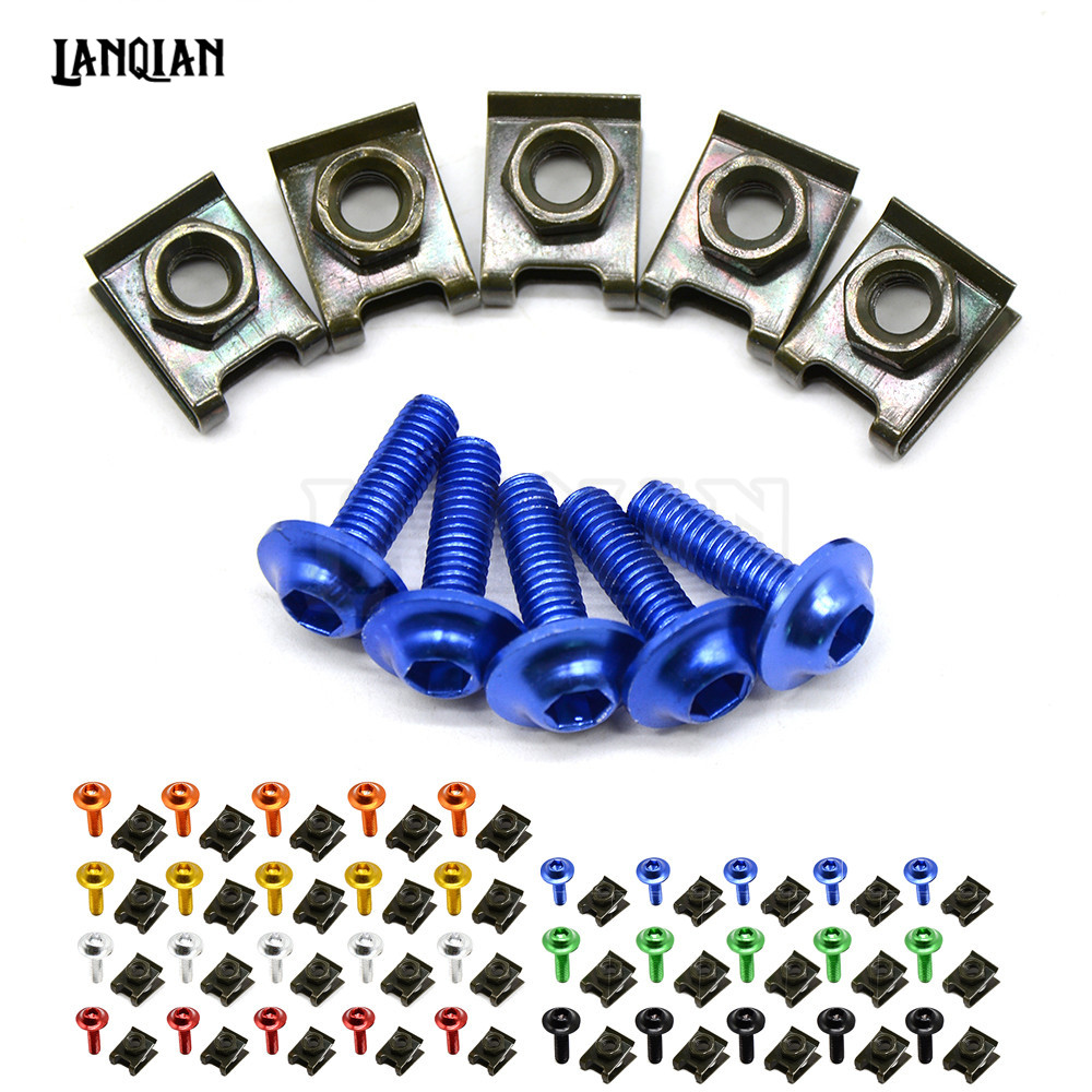 6mm Motorcycle CNC Fairing body work Bolts Screws 5 pcs for honda cbr 600 f4i YAMAHA XJR1300 XJR 1300 1999-2003 kawasaki er6n