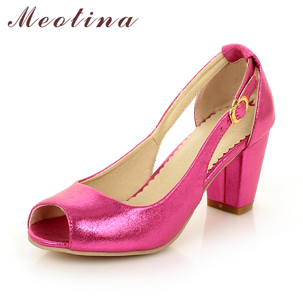 Meotina Women Shoes Peep Toe Thick High Heels Buckle Pumps Wedding High Heels Autumn Summer Ladies Shoes Blue Plus Size  9 10 43 women luxury shoes platform pumps bridal wedding lolita shoes black red beige bottom peep toe high heels fetish shoes size 4 16