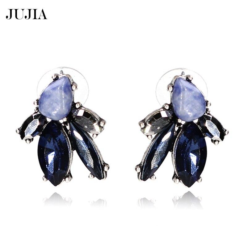 ᑐJoyería caliente de la vendimia Mujeres Nuevo azul cristal oído ...