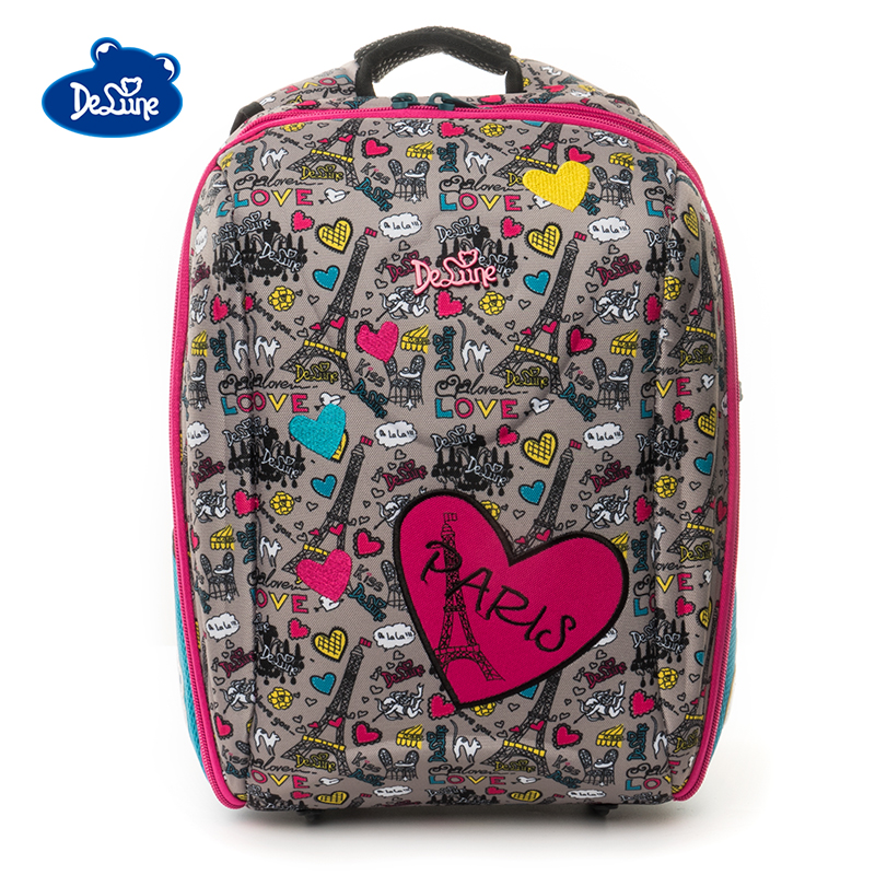Delune Embroidery School Bags For Girls Boys Bear Pattern Backpacks Children Orthopedic Backpack Student Mochila Infantil
