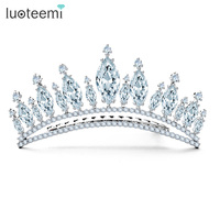 LUOTEEMI Proveedor Joyería Al Por Mayor Nuevos Pendientes Princess Crown Circón Oro Blanco de Color Nupcial Accesorio Para El Pelo para La Boda