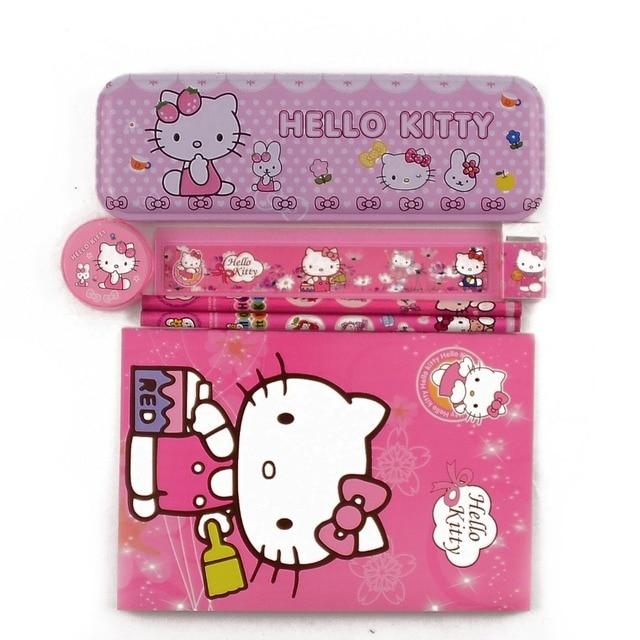 1 Set High Quality Hello Kitty Pencil Case For Girls Kawaii Children School Supplies Stationery