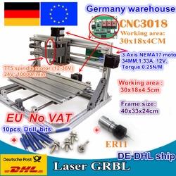DE ship мини лазерный гравировальный станок с ЧПУ 3018 лазерный гравер DIY хобби режущие инструменты ER11 GRBL для дерева PCB PVC мини фрезерный станок с ...