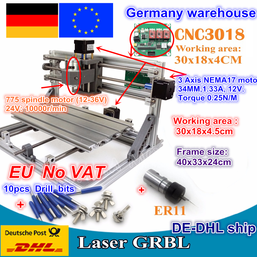 DE ship 3018 GRBL control DIY mini CNC machine working area 300x180x45mm 3 Axis Pcb Milling machine,Wood Router,cnc router v2.4 daniu 3018 3 axis grbl control 500mw laser diy cnc router milling engraving machine working area 30x18x40cm