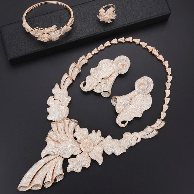 Luxus Blatt dubai schmuck set für frauen mode Schmuck Hochzeit Halskette Ohrringe Armband Ring Schmuck Set parure bijoux femme