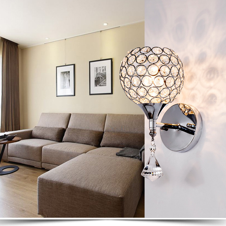Modern Simple Single Head Crystal Wall Lamp Individual Restaurant Hallway Lamp Romantic Warm Bedroom Bedside Wall LampModern Simple Single Head Crystal Wall Lamp Individual Restaurant Hallway Lamp Romantic Warm Bedroom Bedside Wall Lamp