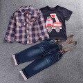 2017 Мальчиков Красивый Джинсовая Одежда Устанавливает дети мальчики одежда Дети Хлопок куртка + футболка + Джинсовые Брюки 3 ШТ. baby boy одежда