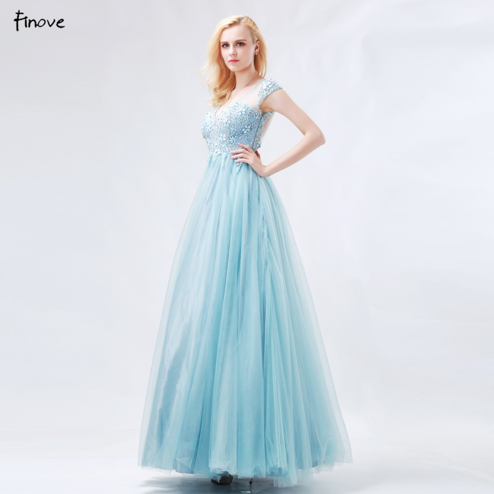 Finove Princess Prom Dresses 2018 New Arrival Blue Ball Gowns V Neck ...