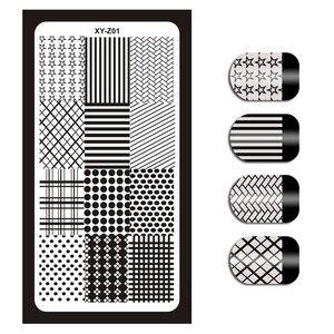Image 2 - 12*6cm 32 Designs Geometry English Letter Nail Art Stamping Template Plates DIY Polish Print Image Plates Manicure Tools XYZ1 32