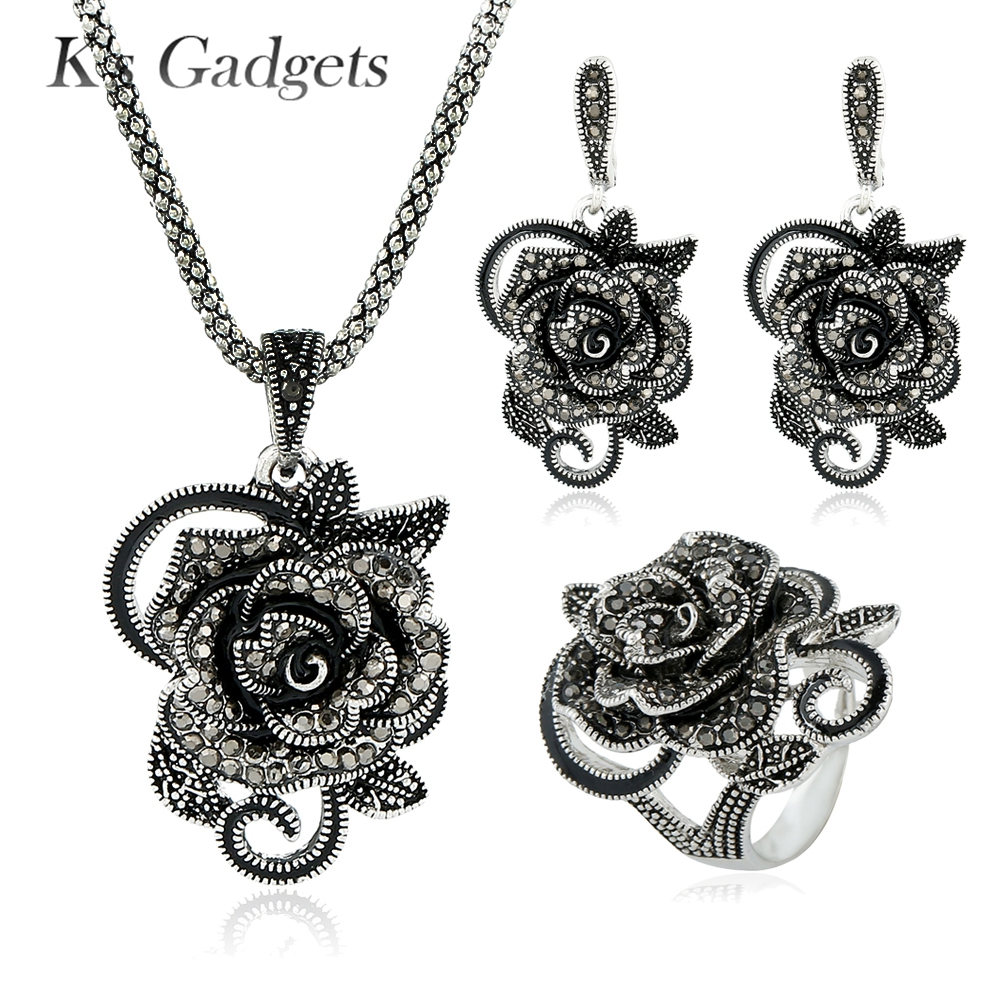 Big Flowers Wedding Jewelry Sets Black Crystal Rhinestone Ring Earring And Pendant Necklace Silver Plated Vintage Set