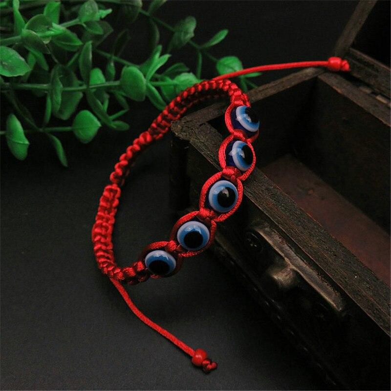 2019 Türkei Glas Perle Evil Eye Charms Armband Rote Schnur Seil Geflochtene Bangles Armbänder Für Frauen Männer Einstellbare Länge