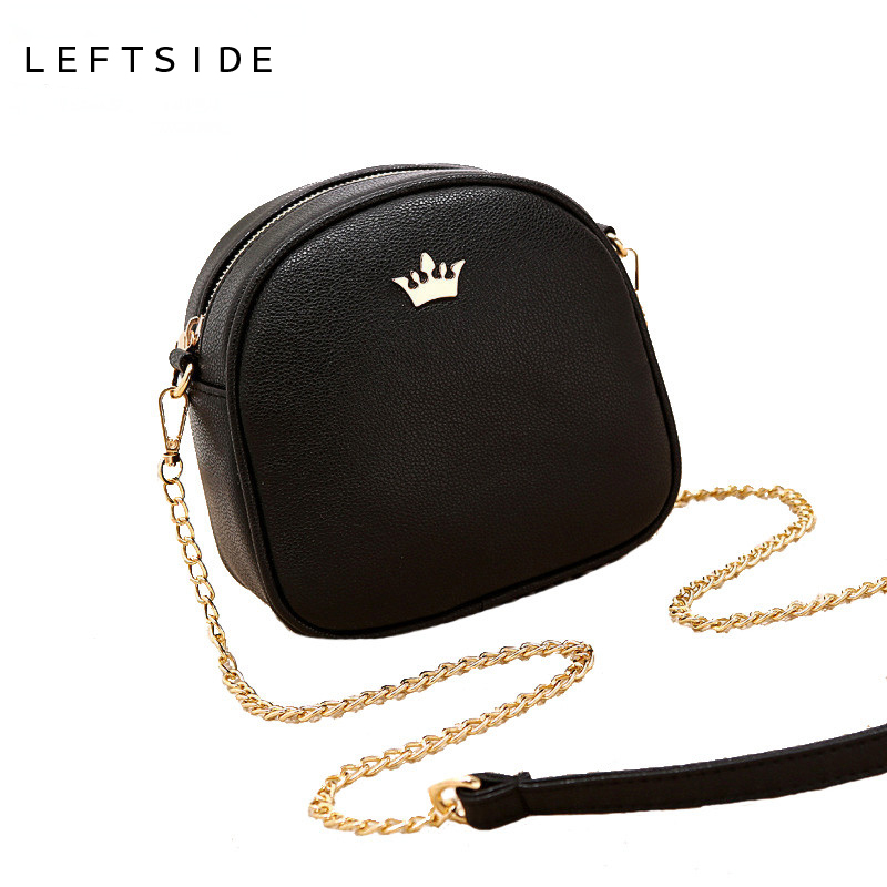 LEFTSIDE 2017 Korean Bags Crown Small Chain Ladies Handbags PU leather Mini hand bag Shoulder Messenger Crossbody Candy colors 2015 women cute bow candy color handbags ladies messenger shoulder crossbody bags mini small quilted chain bags bolsas ba048