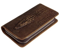 Nesitu High Quality Long Brown Genuine Leather Clutch Bag Men Wallets Clutches Purse Real Skin #M8070