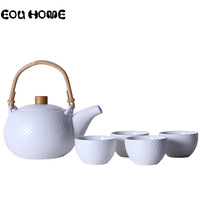 Chinese Style Ceramic Green/White Kung Fu Teaware Sets Kettle Gaiwan Tea Cup for Puer Chinese Tea Pot Portable Tea Set Drinkware