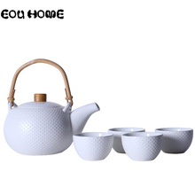 цены Chinese Style Ceramic Green/White Kung Fu Teaware Sets Kettle Gaiwan Tea Cup for Puer Chinese Tea Pot Portable Tea Set Drinkware