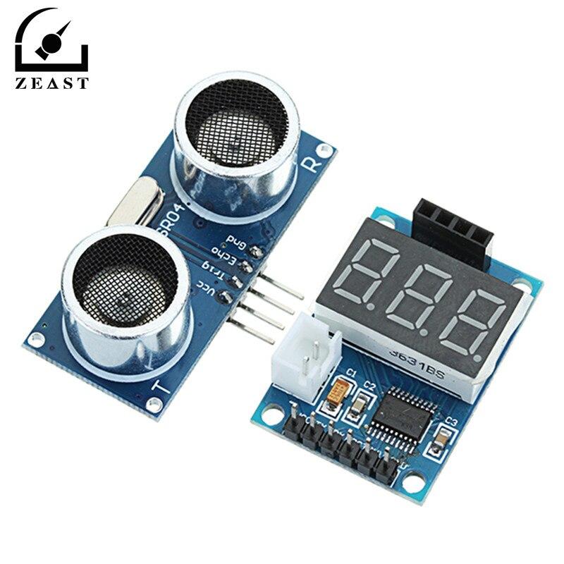 Ultrasonic distance measuring module HC-SR04 test board serial port output digital tube display range finder