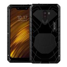 Для Xiaomi Mi Pocophone F1 твердый корпус для телефона Алюминий металлический закаленное Стекло Экран протектор чехол Heavy Duty Защита кремния