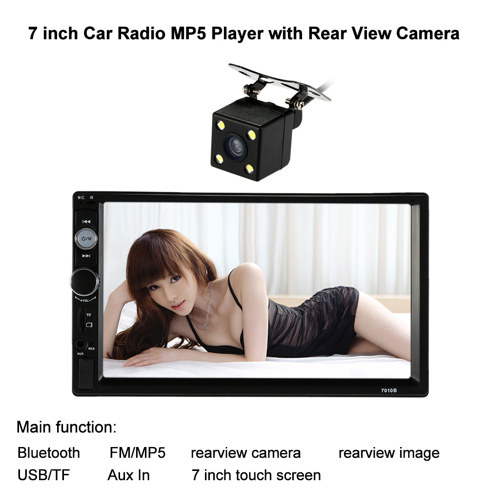 KKmoon 7'' 2 Din Car Radio Bluetooth Video Car Stereo Radio Player FM MP5 Aux Input Audio Entertainment with Rear View Camera